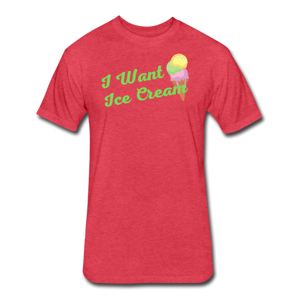 I Want Ice Cream - Cotton/Poly T-Shirt - heather red