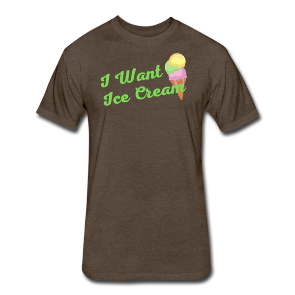 I Want Ice Cream - Cotton/Poly T-Shirt - heather espresso