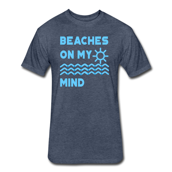 Beaches On My Mind - Men's - Cotton/Poly T-Shirt - heather navy