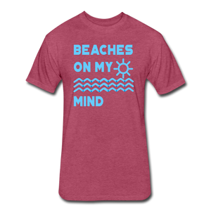 Beaches On My Mind - Men's - Cotton/Poly T-Shirt - heather burgundy