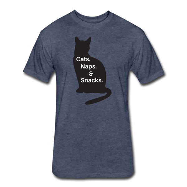 Cats, Naps, Snacks - Men's Cotton/Poly T-Shirt - heather navy