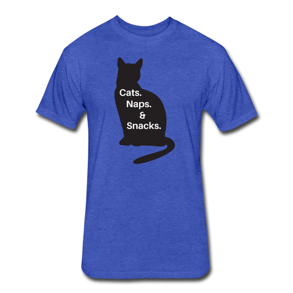 Cats, Naps, Snacks - Men's Cotton/Poly T-Shirt - heather royal