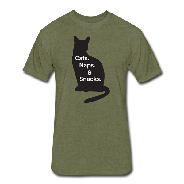 Cats, Naps, Snacks - Men's Cotton/Poly T-Shirt - heather military green