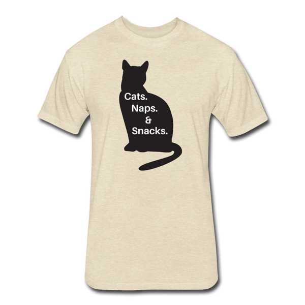 Cats, Naps, Snacks - Men's Cotton/Poly T-Shirt - heather cream