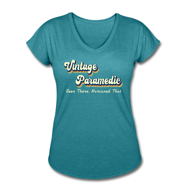 Vintage Paramedic - Women's Tri-Blend V-Neck T-Shirt - heather turquoise