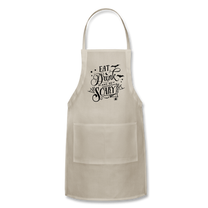 Eat Drink And Be Scary - Adjustable Apron - natural