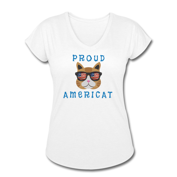 Proud Americat - Women's Tri-Blend V-Neck T-Shirt - white