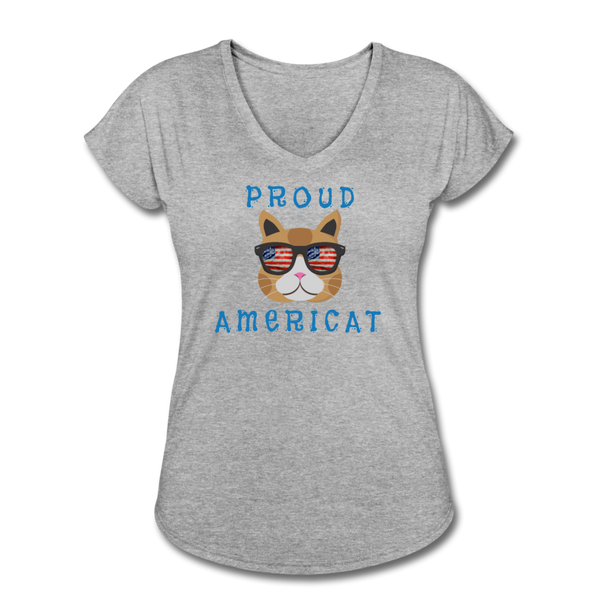 Proud Americat - Women's Tri-Blend V-Neck T-Shirt - heather gray