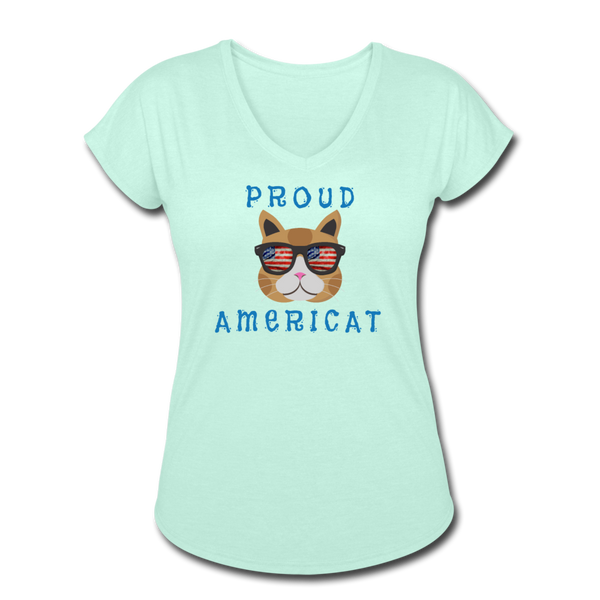 Proud Americat - Women's Tri-Blend V-Neck T-Shirt - mint