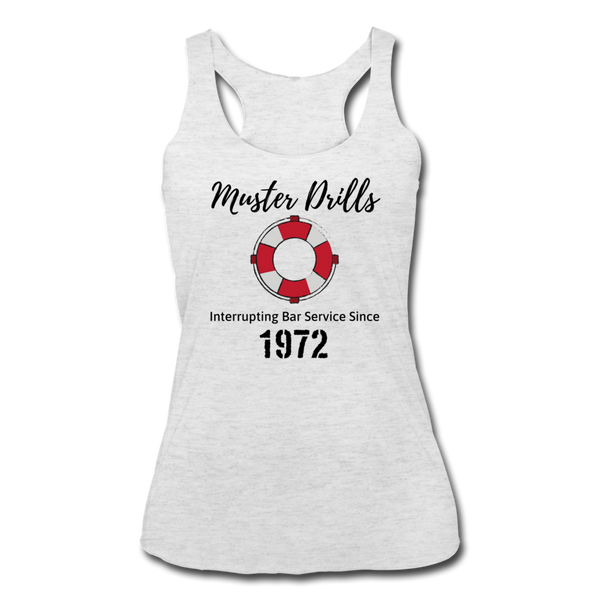 Muster Drills - Women's Tri-Blend Racerback Tank - heather white