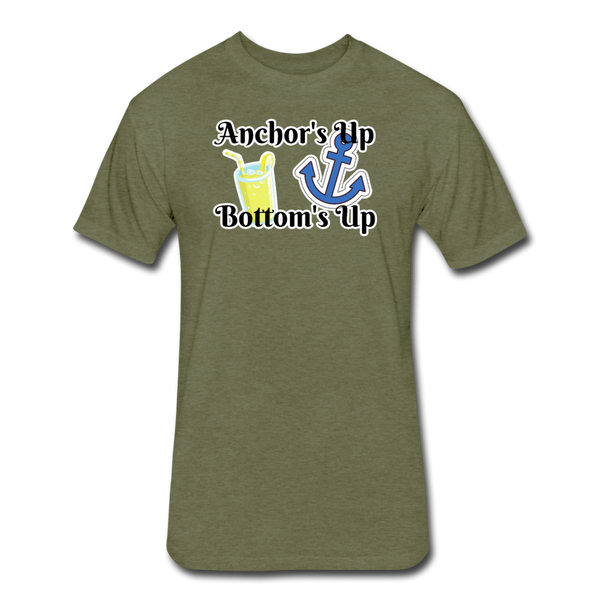 Anchor's Up Bottom's Up - Cotton/Poly T-Shirt - heather military green