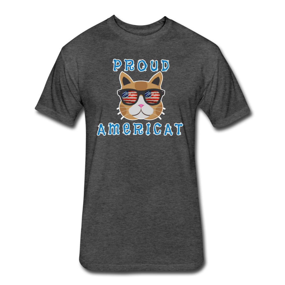 Proud Americat - Men's Fitted Cotton/Poly T-Shirt - heather black