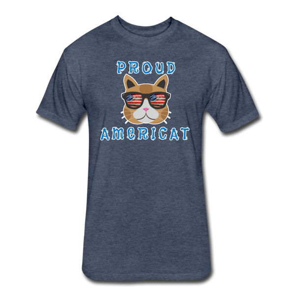 Proud Americat - Men's Fitted Cotton/Poly T-Shirt - heather navy
