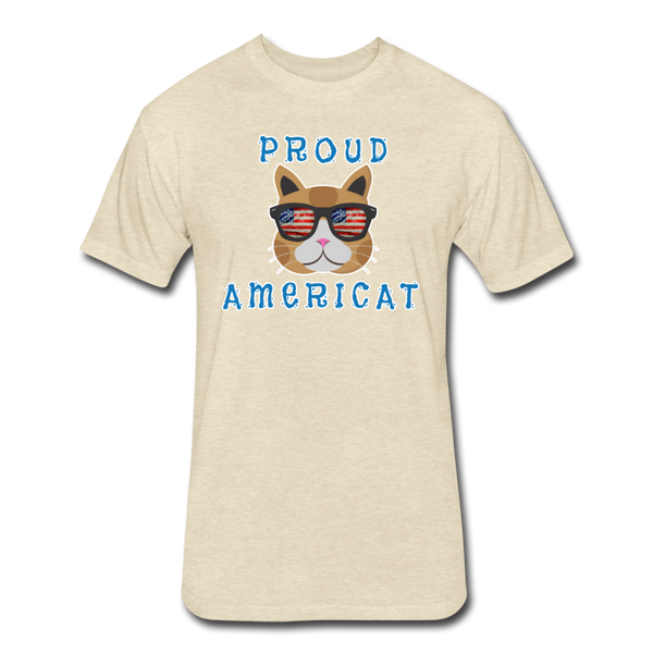 Proud Americat - Men's Fitted Cotton/Poly T-Shirt - heather cream