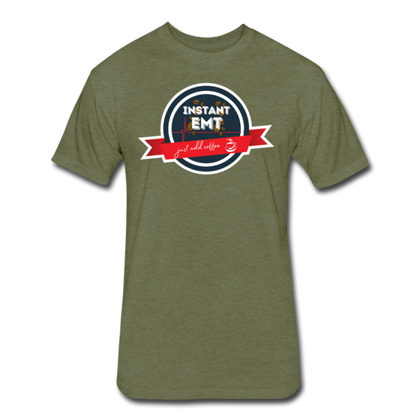 EMT, Just Add Coffee - Men's Cotton/Poly T-Shirt - heather military green