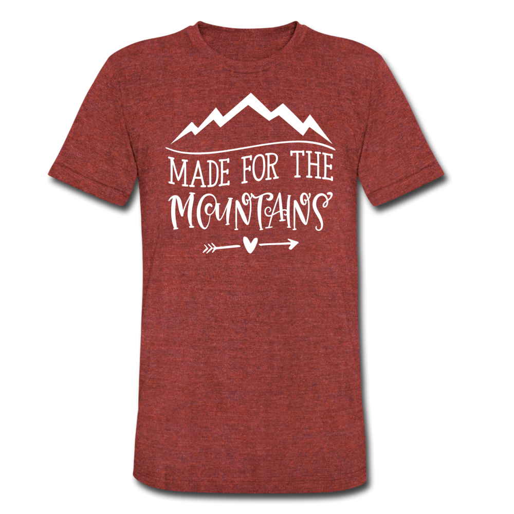 Made For The Mountains - Tri-Blend T-Shirt - heather cranberry