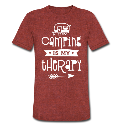 Camping Is My Therapy - Tri-Blend T-Shirt - heather cranberry