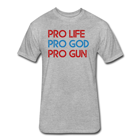 Pro Life, Pro God, Pro Gun - Cotton/Poly T-Shirt - heather gray