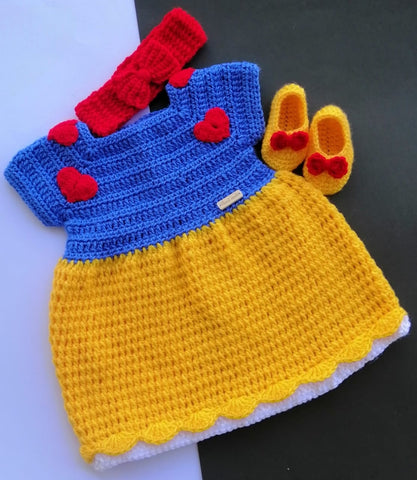 Hand Knitted Baby Sweater Princess With Head Band & Booties
