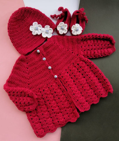 Hand Knitted Newborn Set Sweater With Flower Cap & Booties