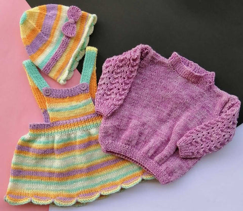 Hand Knitted Baby Half Dungaree Frock Sweater & Cap
