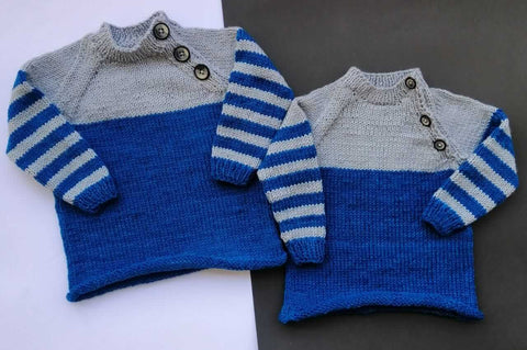 Hand Knitted Sweater Three-Button Neck Style