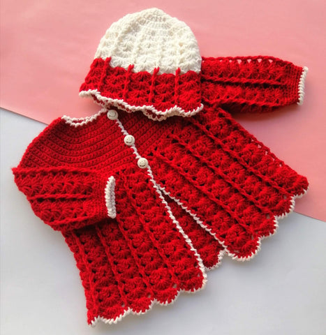 Hand Knitted Baby Sweater & Cap Red & White