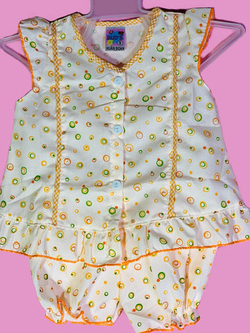 Newborn Baby Girl Frock - Orange Dots Online @ Best Price in Pakistan