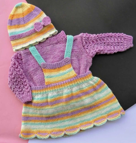 Hand Knitted Newborn Baby Half Dungaree Frock Sweater & Cap Online @ Best Price in Pakistan