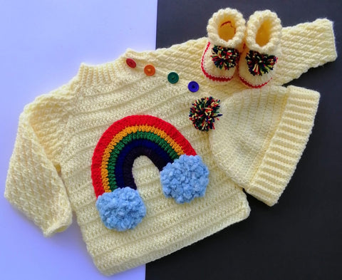 Hand Knitted Newborn Baby Sweater Rainbow With Cap & Booties Online @ Best Price in Pakistan