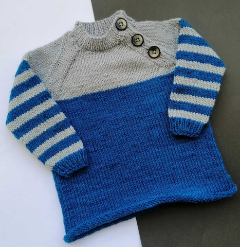 Hand Knitted Sweater Three Button Neck Grey & Blue Shade Online @ Best Price in Pakistan