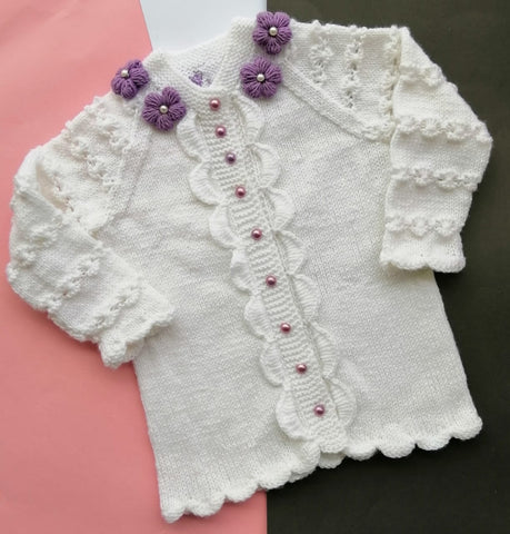 Hand Knitted Sweater Lavender Shade Flowers White Cardigan Online @ Best Price in Pakistan