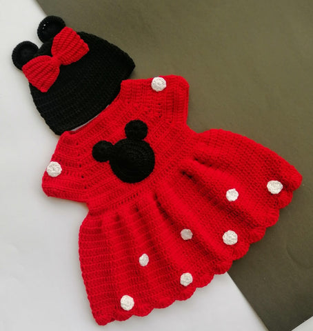 Hand Knitted Newborn Baby Sweater | Dress & Cap Mickey Mouse Online @ Best Price in Pakistan