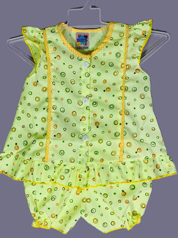 Newborn Baby Girl Frock - Green Dots