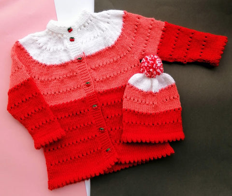 Hand Knitted Sweater Red Shades of Love Cardigan Online @ Best Price in Pakistan