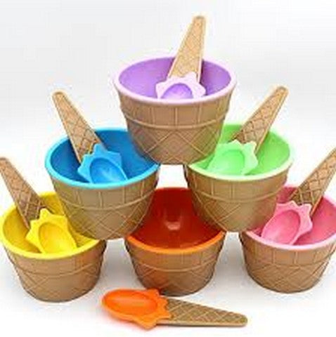 4 Pcs Ice Cream Cup Bowl With Spoon Online @ Best Price in Pakistan