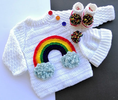 Hand Knitted Newborn Baby Sweater Rainbow White With Cap & Booties Online @ Best Price in Pakistan