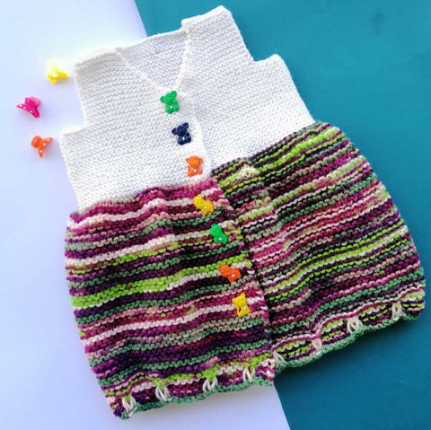 Hand Knitted Newborn Baby Sweater | Dress White & Multi Combo Online @ Best Price in Pakistan