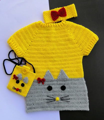 Hand Knitted Sweater With Head Band & Shoulder Pouch Online @ Best Price in Pakistan