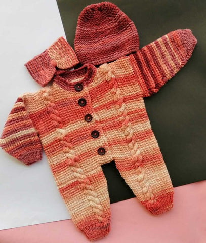 Hand Knitted Newborn Baby Romper With Cap And Band Maroon Shades Online @ Best Price in Pakistan