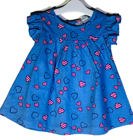 Newborn Baby Girl Frock - Red Striped Hearts Online @ Best Price in Pakistan