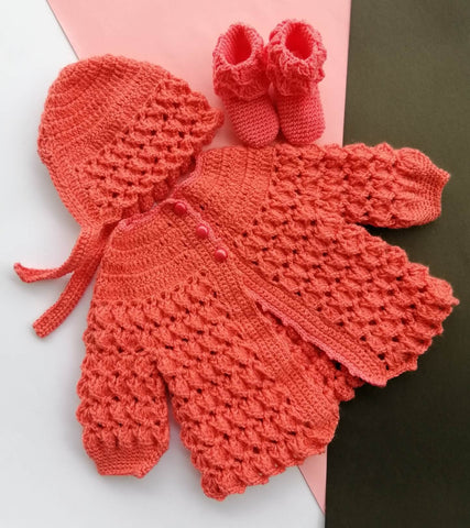 Hand Knitted Newborn Baby Sweater Cap & Booties Online @ Best Price in Pakistan