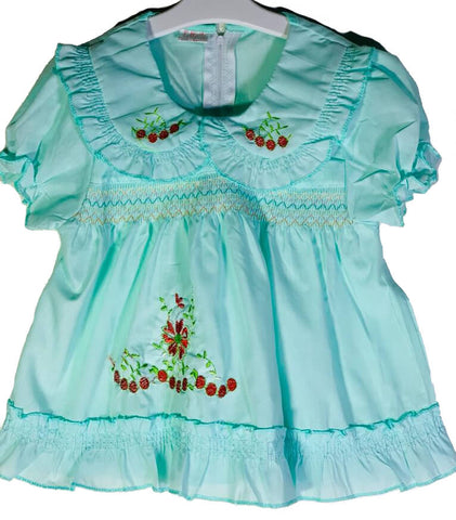 Newborn Baby Girl Frock - Sky Red Flower Cherries Online @ Best Price in Pakistan