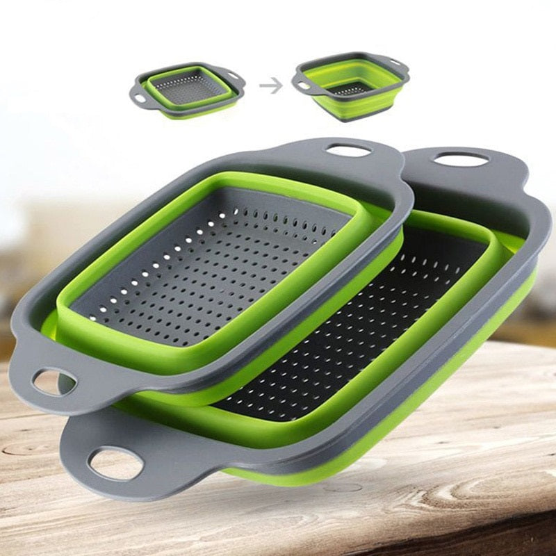 Collapsible Colander 2 Sets Kitchen Foldable Silicone Strainer Space Saver Tools