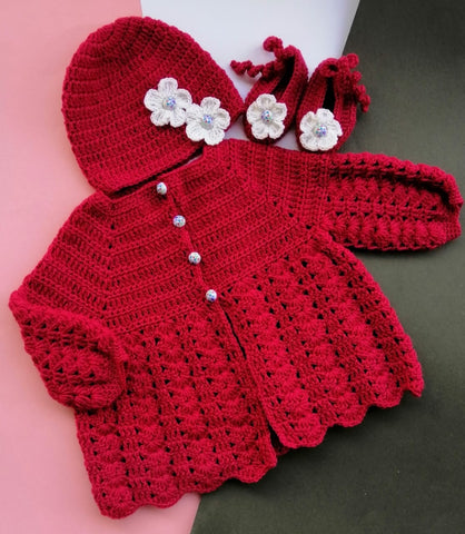 Hand Knitted Newborn Baby Sweater Flowers With Cap & Booties Online @ Best Price in Pakistan