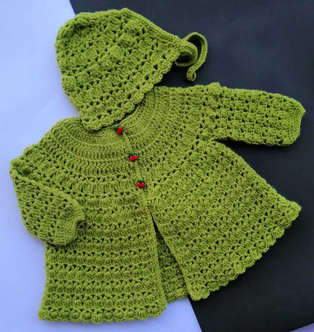 Hand Knitted Newborn Baby Sweater & Cap Plant Green Online @ Best Price in Pakistan