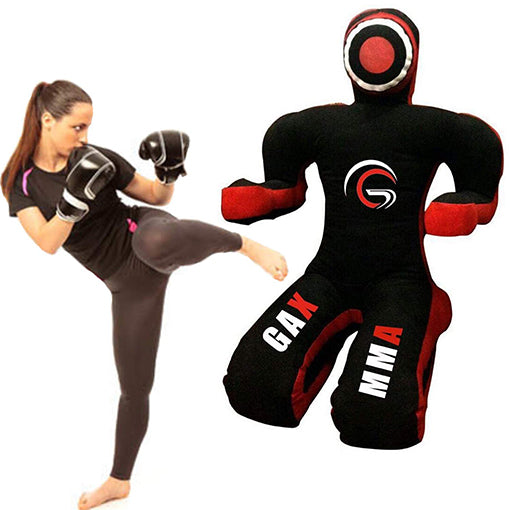 GAX Grappling Dummy Punch Bag - BJJ MMA, Muay Thai Judo Kicking Sitting Position - Black