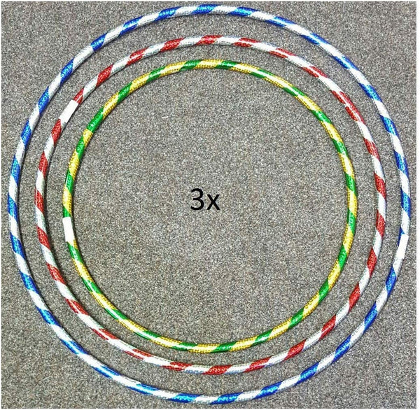 GAX Glitter Hula Hoops 3x - Multicolour Weight Loss Game - Fitness Activity for Unisex Kids & Adults