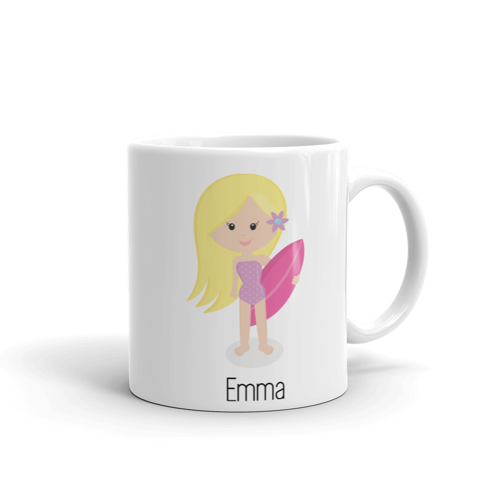 Kids Surfer Girl Mug Blonde Hair (Unbreakable)