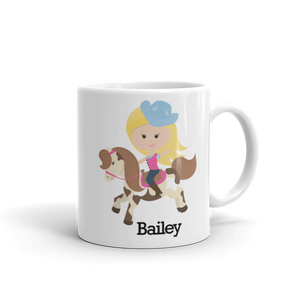 Kids BLONDE Cowgirl on Horse Mug (Unbreakable)
